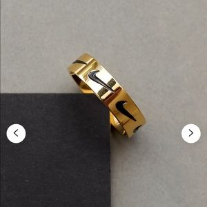 IP Gold Nike Ring Logo Gold Coated Stainless Steel